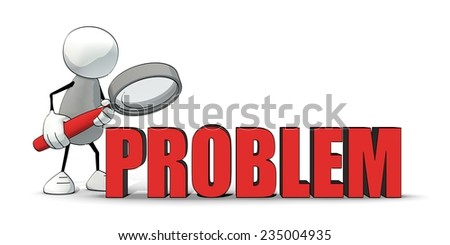 little sketchy man examining the problem with a magnifier - stock photo
