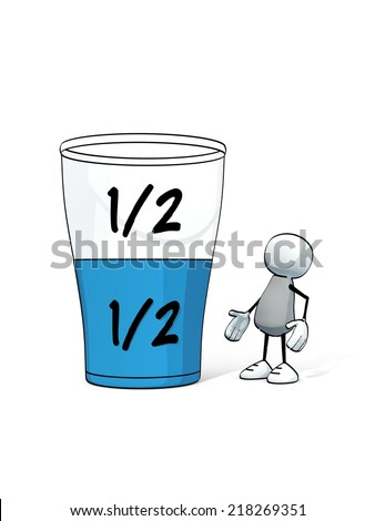 little sketchy man - glass half full half empty - stock photo