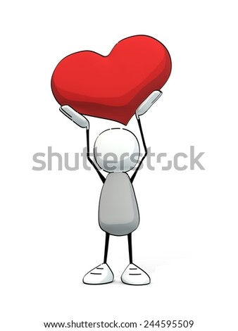 little sketchy man holding up a big red heart - stock photo