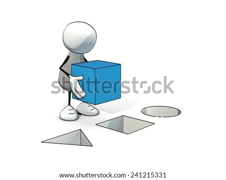 little sketchy man putting a blue cube at the right place - stock photo