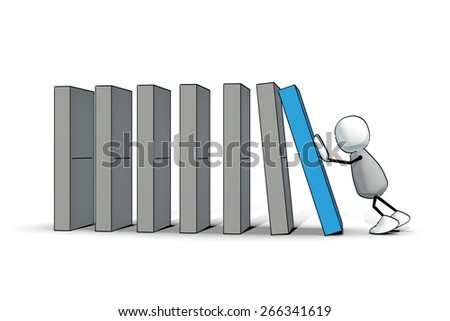 little sketchy man starting a blue domino - stock photo