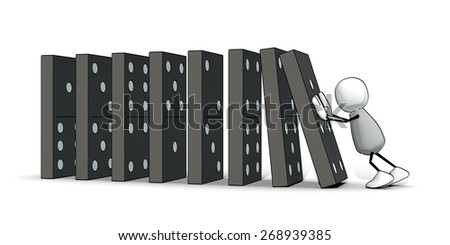 little sketchy man starting a domino - stock photo
