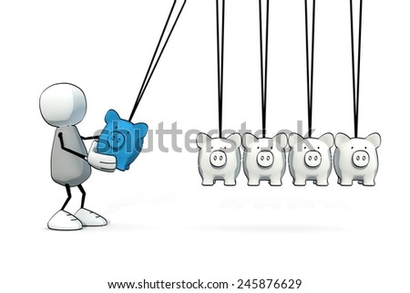 little sketchy man starting a Newton cradle with piggy bank - stock photo