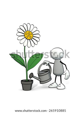 little sketchy man watering a flower in a pot - stock photo