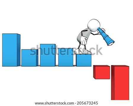 little sketchy man with a spyglass looking down a negative bar chart - stock photo