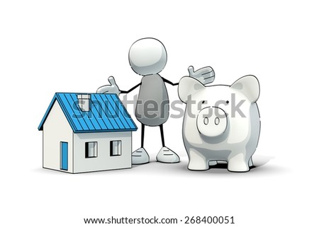 little sketchy man with blue house and piggy bank - stock photo