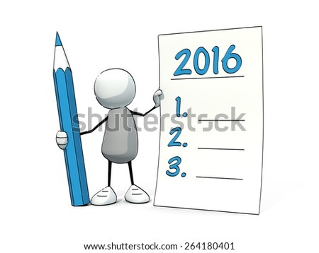 little sketchy man with blue pencil making good resolutions for 2016 - stock photo