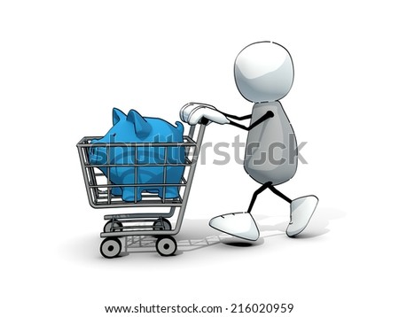little sketchy man with blue piggy bank in a shopping cart - stock photo
