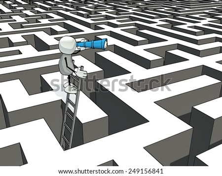 little sketchy man with ladder and telescope in a maze - stock photo
