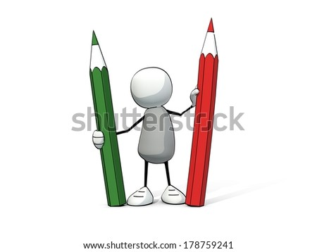 little sketchy man with red and green pencil - stock photo