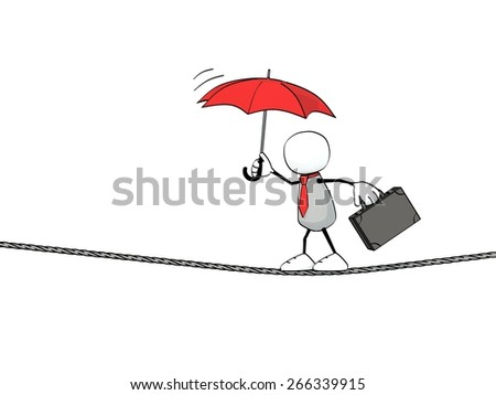 little sketchy man with tie, briefcase and red umbrella balancing on a rope - stock photo
