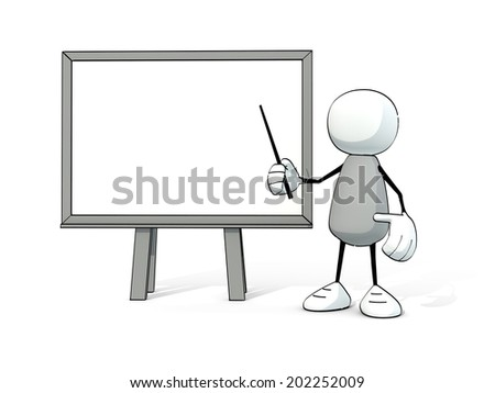 little sketchy man with white board and pointer - stock photo