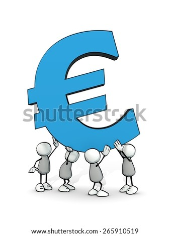 little sketchy men carrying a big blue euro symbol - stock photo