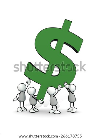 little sketchy men carrying a big green dollar symbol - stock photo