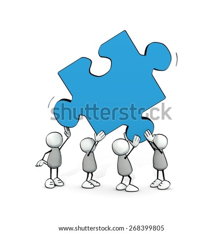 little sketchy men with big blue piece of a puzzle - stock photo