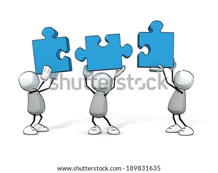 little sketchy men with blue pieces of puzzle - stock photo