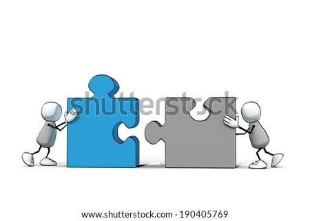 little sketchy men with grey and blue  pieces of puzzle - stock photo