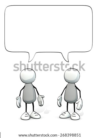 little sketchy men with speech balloon - stock photo