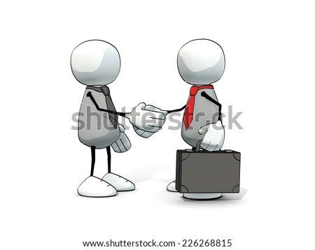 little sketchy men with tie and briefcase shaking hands - stock photo