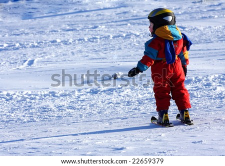 Little skier - stock photo