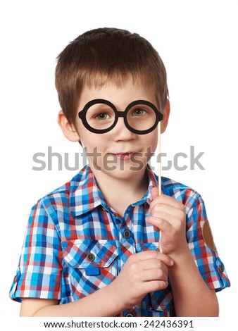 Little smart boy with glasses mask on stick isolated on white