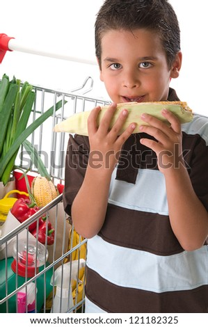 Little smelling corn on the cob - stock photo