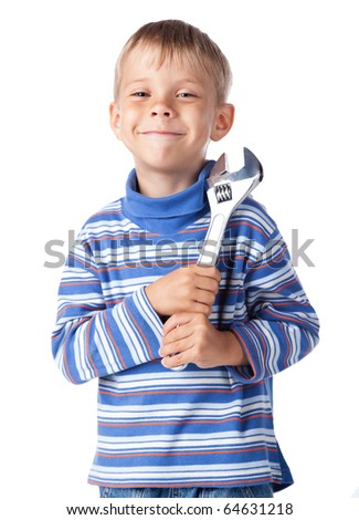 little smiley boy with adjustable spanner - stock photo