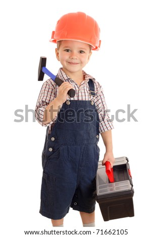 Little smiling builder in coveralls and helmet with hammer and toolbox, isolated on white - stock photo