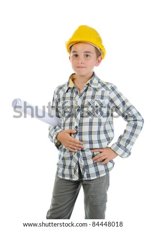 Little smiling builder in helmet. Isolated on a white background - stock photo