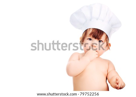 Little smiling chief-cooker, isolated on white. - stock photo