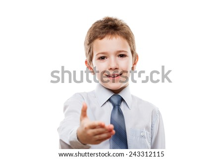 Little smiling child boy gesturing hand greeting or meeting handshake white isolated