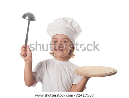 Little smiling cooker with empty dish, isolated on white - stock photo