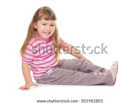 Little smiling girl isolated on white