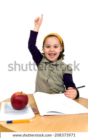 little smiling girl logs isolated - stock photo