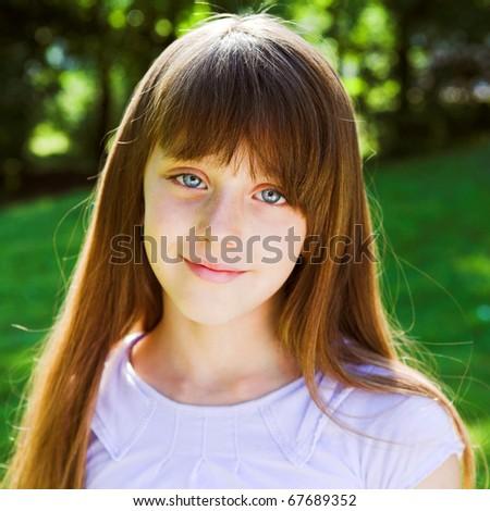 Little smiling girl summer portrait - stock photo