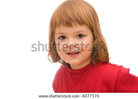 little, smiling girl wearing red shirt, isolated on white