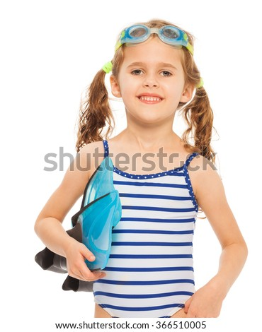 Little smiling swimmer with flippers and goggles - stock photo