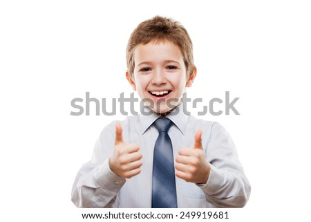 Little smiling young businessman child boy hand gesturing thumb up success sign white isolated - stock photo