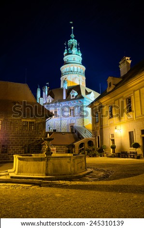 Little square during the night on the castle in Cesky Krumlov, Czech Republic - stock photo