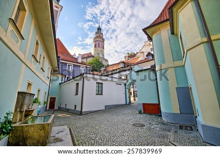 Little square on the castle in Cesky Krumlov, Czech Republic - stock photo