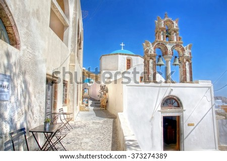 little square on the cyclade Island of Santorini , Greece  - stock photo