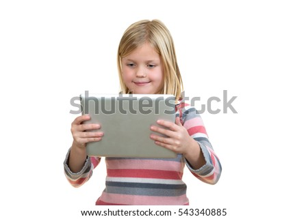 little standing girl with tablet on white background