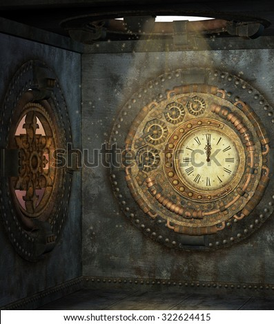 Little steam punk room with clock - stock photo