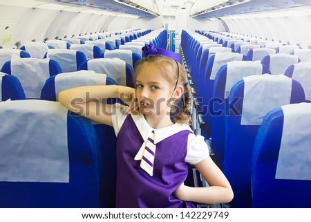 Little stewardess - stock photo