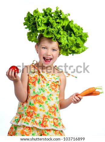 little sweet girl with a salad on her head isolated on white - stock photo