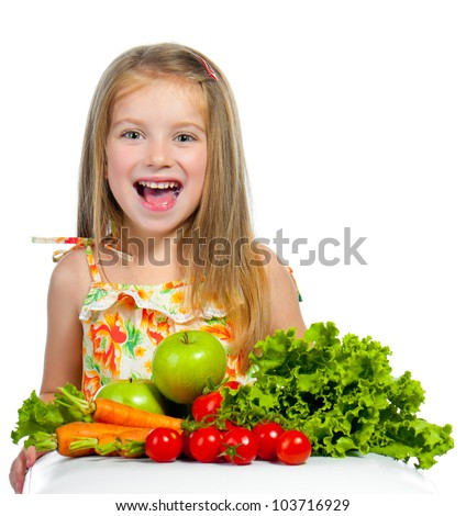 little sweet girl with vegetables, isolated on white background - stock photo