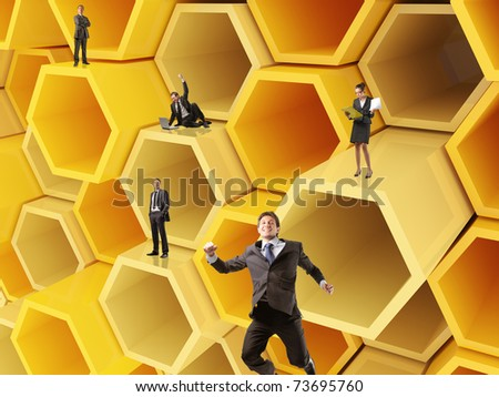 little team on 3d abstract cell construction - stock photo