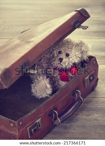 Little teddy bear sitting in an open vintage suitcase - stock photo
