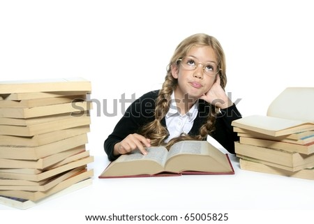 little thinking student blond braided girl with glasses smiling stacked books on white background
