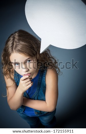 Little thoughtful girl with bubbles - stock photo